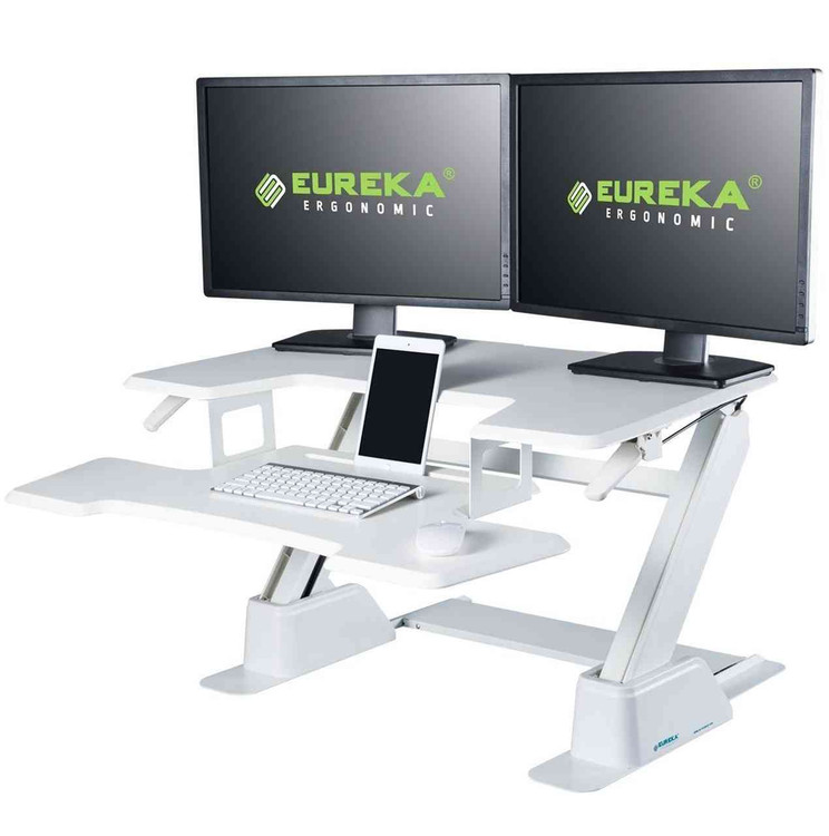 Eureka Ergonomic® Height Adjustable 36 Inch Stand Up Desk Converter, White - ERK-CV-36W
