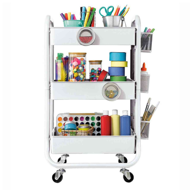 Eureka Ergonomic® 3 Tier Rolling Metal Shelving Utility Storage Cart with Wheels, Organizer Trolley, White - ERK-CP-JJ-CWC-0008