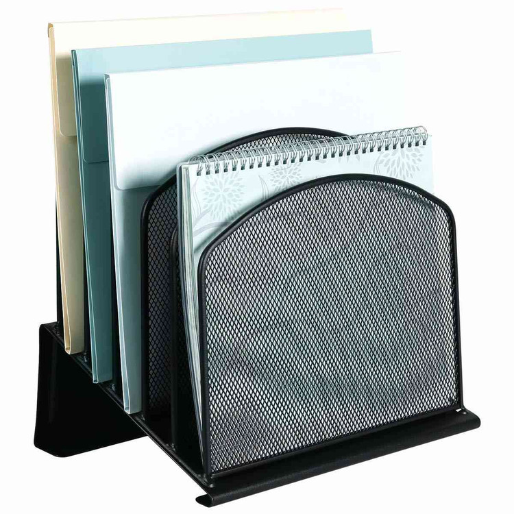 Eureka Ergonomic® Mesh Desk File Letter Organizer, 5 Upright Incline Sections, Black - ERK-AM-027