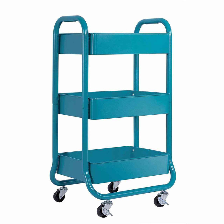 Eureka Ergonomic® 3 Tier Rolling Metal Shelving Utility Storage Cart with Wheels, Organizer Trolley, Turquoise - ERK-AM-031-BLT