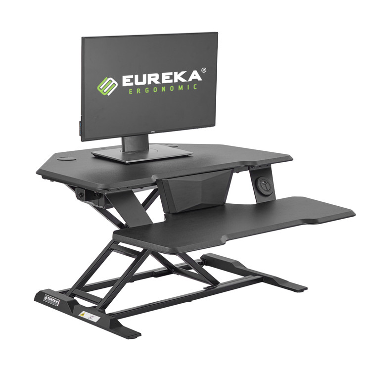 "Eureka Ergonomic® Electric Standing Desk Converter, 32""W Motorized Stand up Desk Riser,Black"
