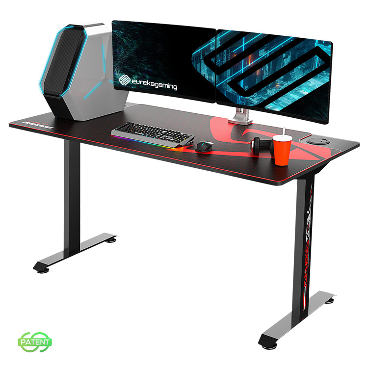 EUREKA ERGONOMIC 2 Person Racing Gaming Desk Large Gamer Desks (5ft Long 27.6in Wide), T-Shaped Office PC Computer Desk with Full-Size Mouse Pad, Popular Gift for Son/Boyfriend/E-Sports Lover