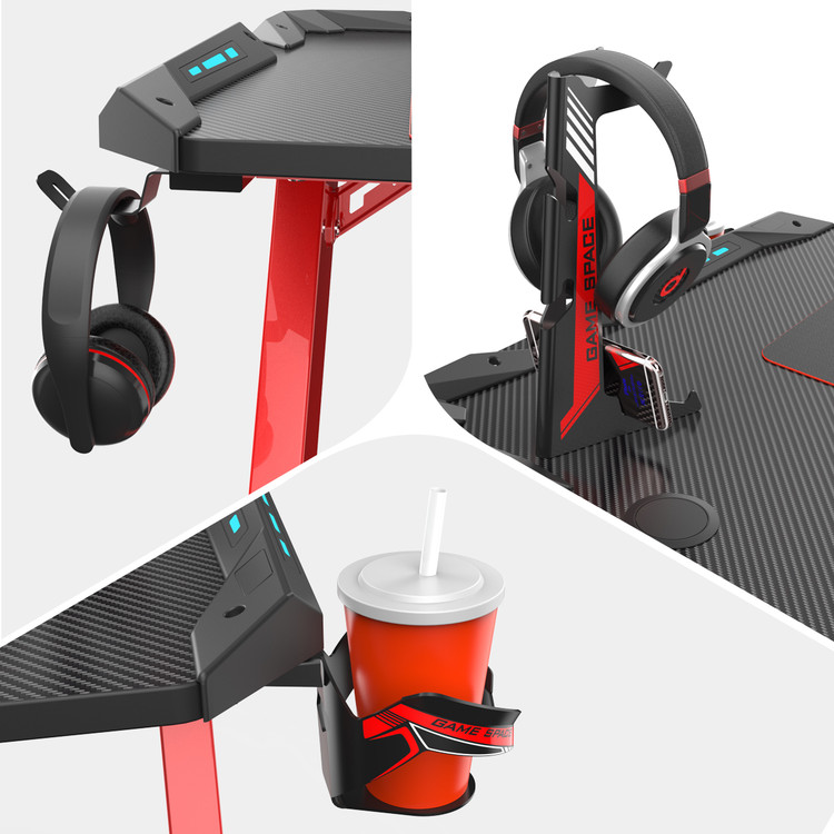 Eureka Gaming® Gamer's Gear Rack Bundle New - Cup Holder, Headset Hook & Controller Rack (ERK-CA-3R02)