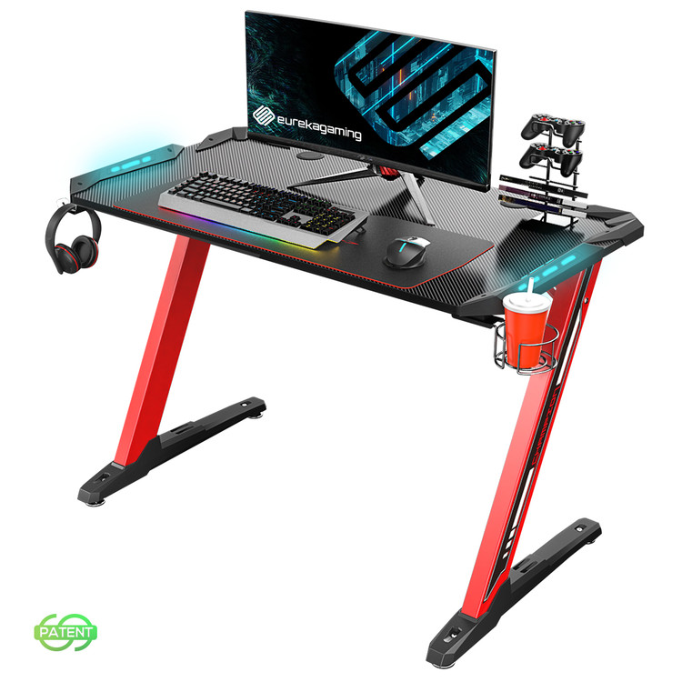 Eureka Ergonomic® Z1-S Gaming Desk with LED Lights, Controller Stand, Cup Holder & Headphone Hook - Red (ERK-EDK-Z1SRD)