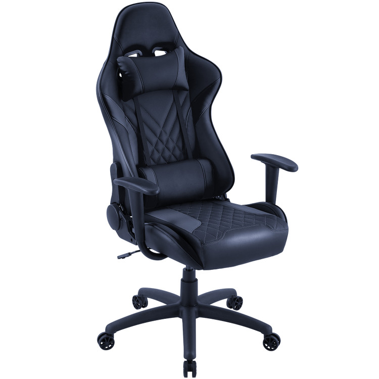 Eureka Ergonomic Home Office Gaming Computer Chair with Headrest and Lumbar Support, Height Adjustable Video Game Swivel Chair of Top Quality Leather, Black (ERK-ONEX-GX2-B)