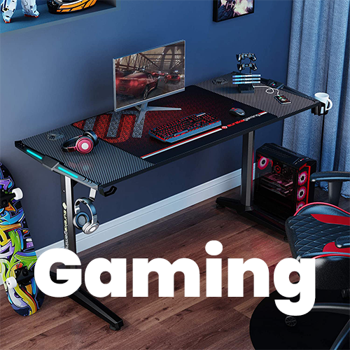 GIP-55-B Gaming Desk Setup with RGB Lights, Headphone Hook, Cup Holder, and Controller Stand