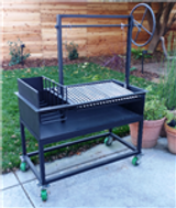 Residential Argentine Grill with Side Brasero Plus Cart with 4 Casters