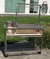 Stainless Steel Argentine Grill with Side Brasero Includes Cart