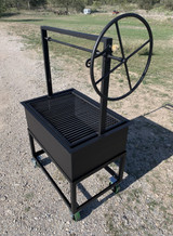 Portable Santa Maria Split Grill with Cart four wheels adjustable grill grate with side wheel