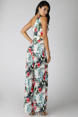 Wide Waist Tie One Shoulder Print Jumpsuit