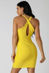 Yellow Cross Back Halter Dress