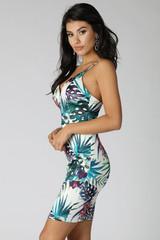 Tropical Print Strappy Bodycon Dress