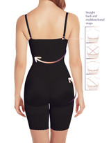 Braless Mid-Thigh Minimizer Bodysuit with Latex