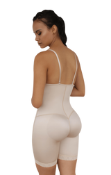 OPEN BUST MID-THIGH BODY SHAPEWEAR W/ FLAT FRONT
