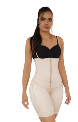 BUTT LIFTING MID-THIGH BODY SHAPER W/ FRONT ZIPPER