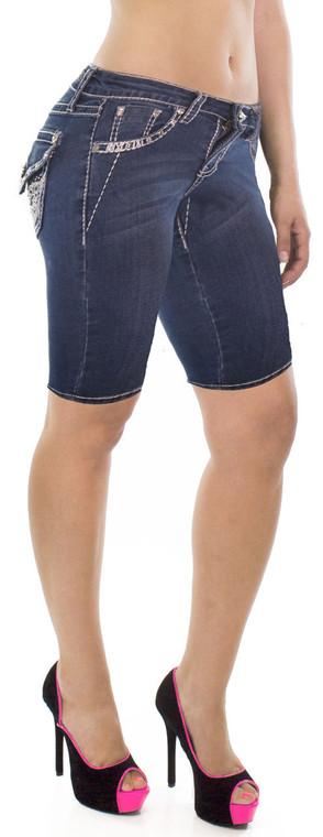 Knee Length RhinestoneShorts
