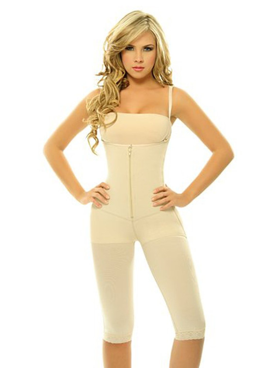 Extra-Strength Compression Braless Capri Style Minimizer Bodysuit with Latex