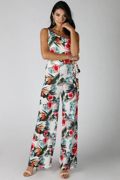Wide Waist Tie One Shoulder Print Jumpsuit