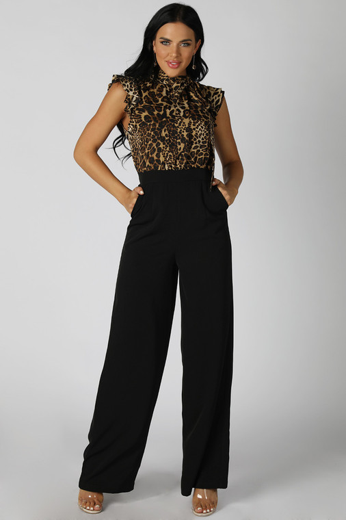 Leopard Print Tie Neck Top Jumpsuit