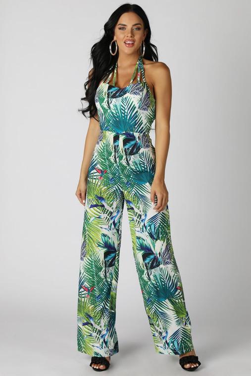 Tri-Strap Tropical Print Jumpsuit
