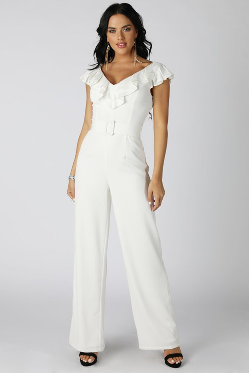 Ruffle Neck Wide Leg Jumpsuit