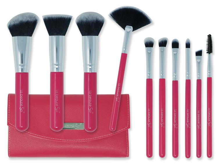 BARBIE PINK ENSEMBLE 10pc Makeup Brush Set