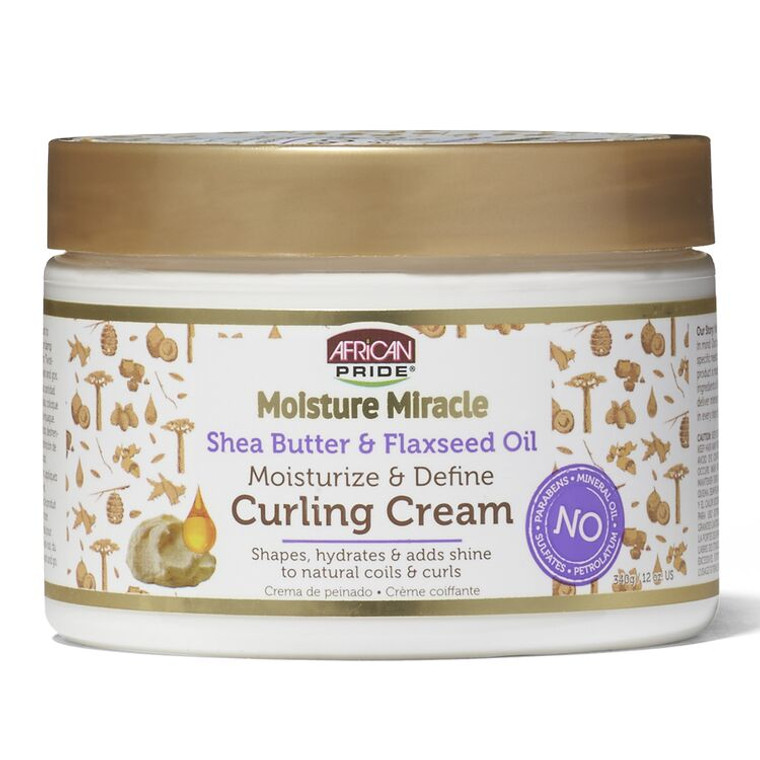 African Pride Moisture Miracle Shea Butter & Flaxseed Oil Curling Cream 12 oz
