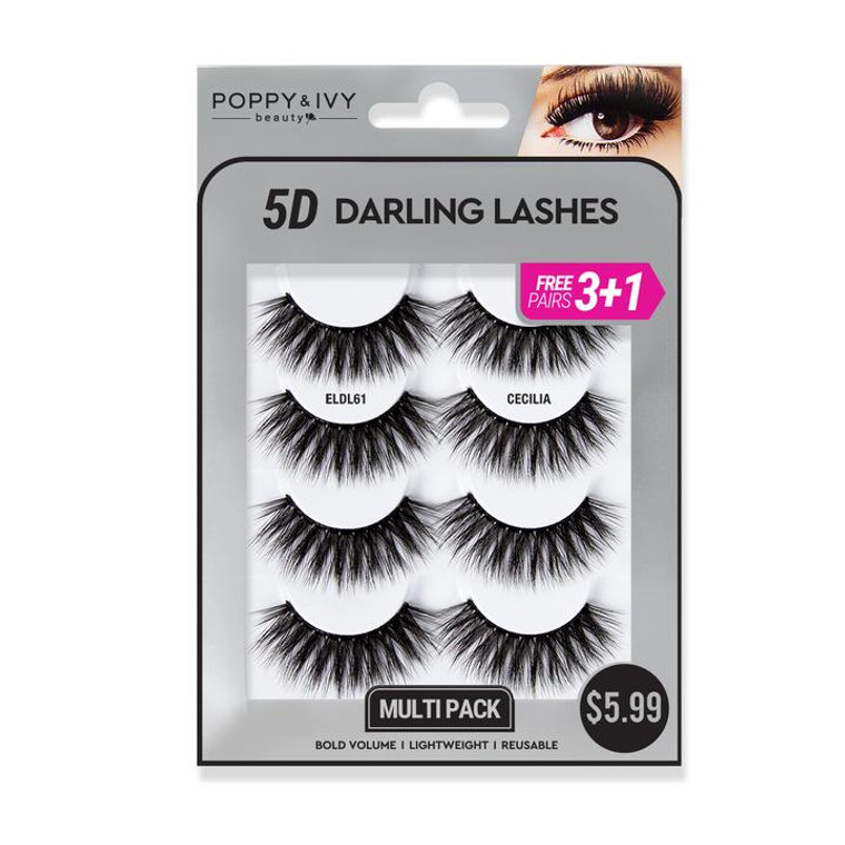 5D DARLING LASHES - Cecilia  4 PAIRS