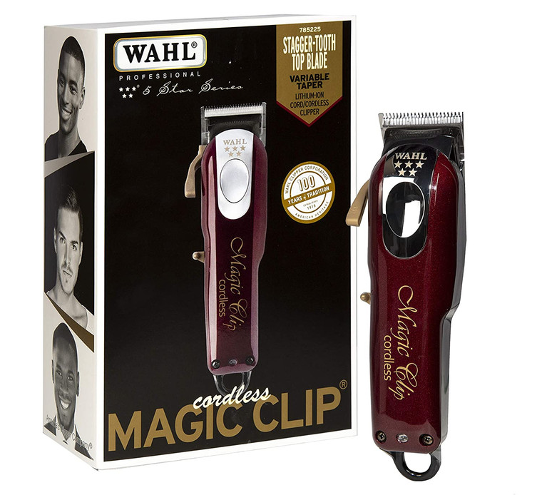 Wahl Professional 5-Star Magic Clip Cord Cordless Hair Clipper for Barbers and Stylists, Red