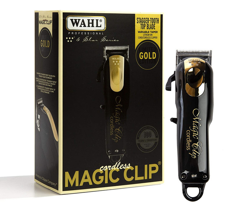 Wahl Professional 5-Star Limited Edition Black & Gold Cordless Magic Clip #8148
