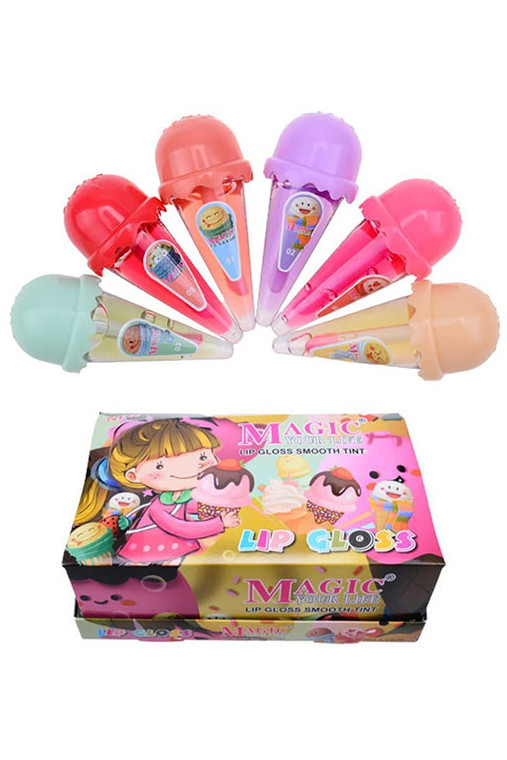 Scented Lip Gloss Smooth Tint Ice Cream Cone 6 Piece Set