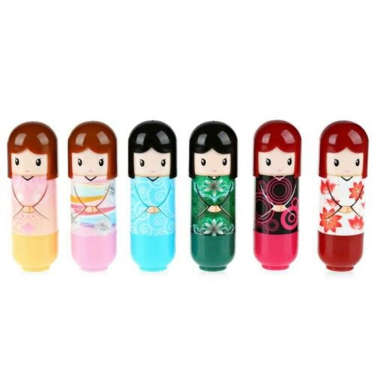 Kimono Doll Lip Balm Fruit Scent 6 Piece Set