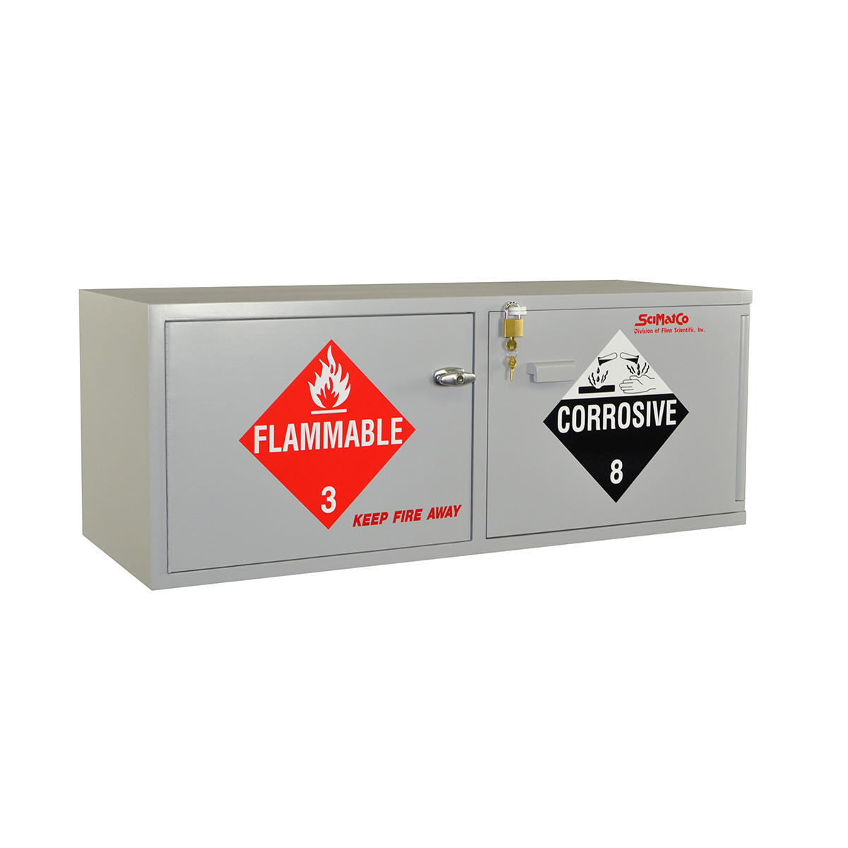 Scimatco SC9041 Gray Plywood Mini Stak-a-Cab Safety Storage Bench Combo Cabinet Acid 10 x 2.5 L//Flammable 8 x 1 gal Capacity