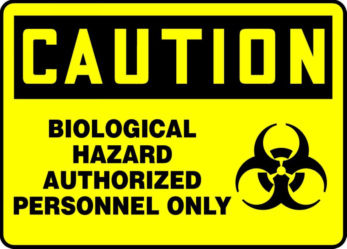 Radiation Hazard Made in the USA OSHA Caution Sign with biohazard graphic