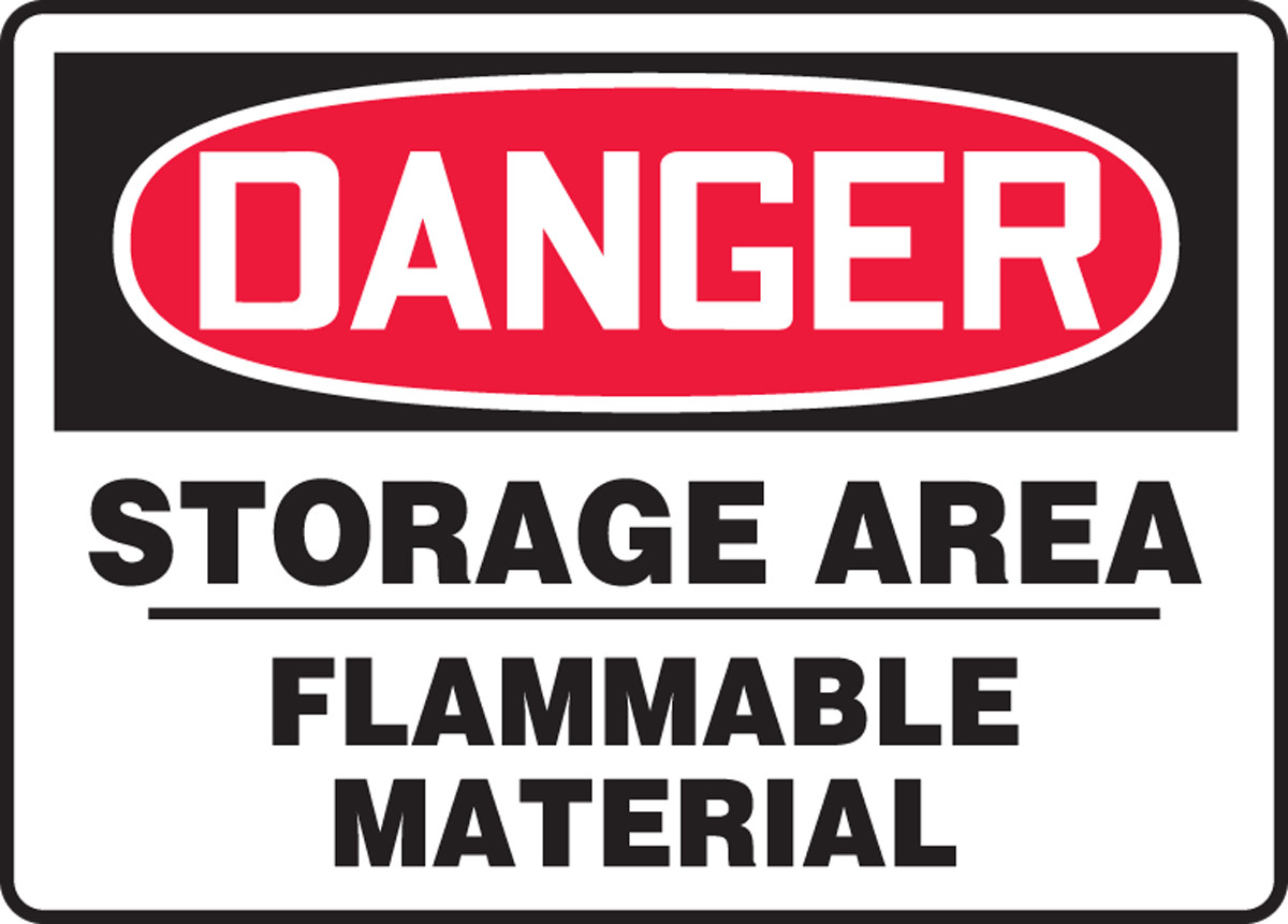 Osha Danger Sign Storage Area Flammable Material 10 X 14 Pack 10