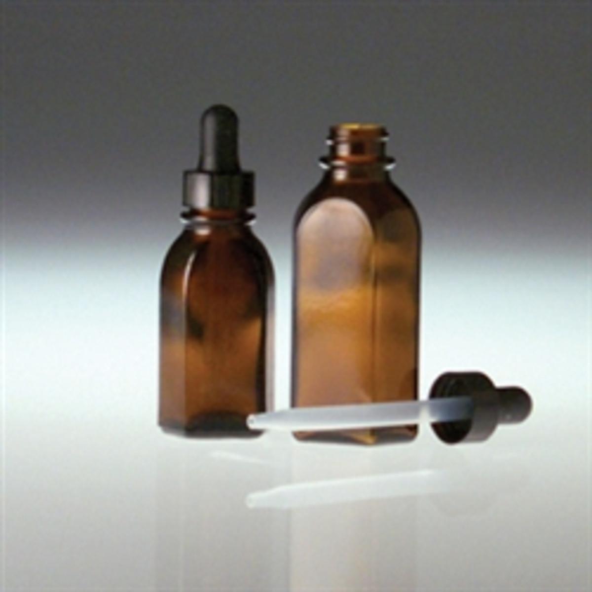 752b3cf33968 Amber Oval Dropper Bottle, 2oz with 20-400 Black PP Cap, 7 x 89mm Plastic  Dropper, case/36