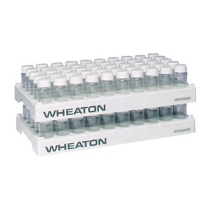 WHEATON® 50 Position PP Vial Rack, 28.1mm Diameter Holes, case/5