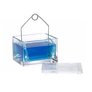 WHEATON® 20-Slide Glass Staining Dish, Removable Slide Rack, case/6