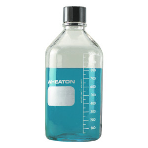 WHEATON® 1000mL, Type 1 Glass Media Bottle, PTFE Lined 38-430 Cap, Each