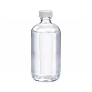 WHEATON® 8 oz Glass Boston Round Bottles, PTFE Lined PP Caps, case/12