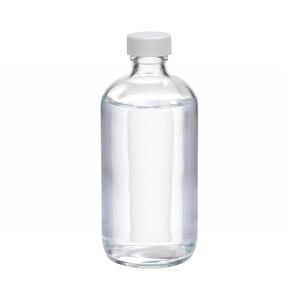 WHEATON® 8 oz Glass Boston Round Bottles, PTFE Lined PP Caps, case/12
