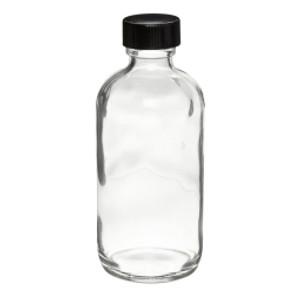 WHEATON® 4 oz Glass Boston Round Bottles, Polyethylene Cone Lined Caps, case/24