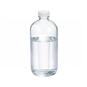 WHEATON® 16 oz Clear Glass Boston Round Bottles, 28-400 Poly Vinyl Liner Bulk, case/60