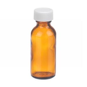 WHEATON® 1 oz Amber Glass Boston Round Bottles, PTFE Liner, case/48