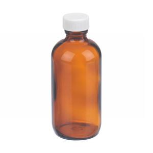 WHEATON® 4 oz Amber Glass Boston Round Bottles, PTFE Liner, case/24