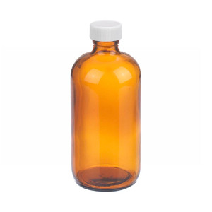 WHEATON® 8 oz Amber Glass Bottles, PP Caps, PTFE Liner, case/12