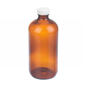 WHEATON® 16 oz Amber Glass Bottle, PP Cap, PTFE Liner, case/12