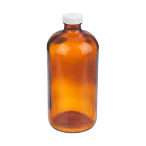 WHEATON® 32 oz Amber Glass Boston Round Bottles, PP Caps, PTFE Liner, case/12