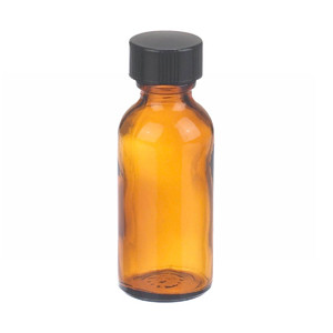 WHEATON® 1 oz Amber Glass Boston Round Bottles with Cone-Shaped Insert, case/48