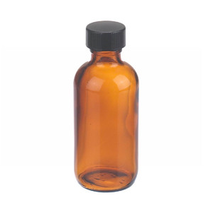 WHEATON® 2 oz Amber Glass Boston Round Bottles with Cone-Shaped Insert, case/24